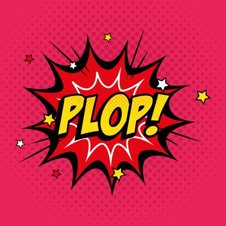 explosion with plop lettering pop art style icon vector illustration design