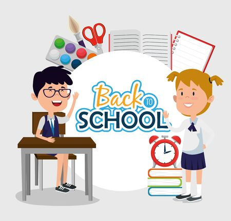 label of girl and boy students with education supplies to back to school vector illustration