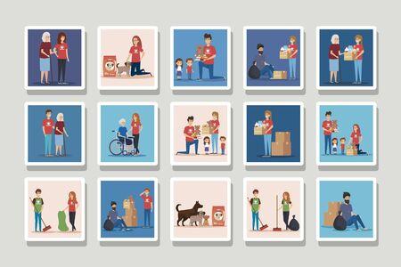 set of scenes donation charity vector illustration design