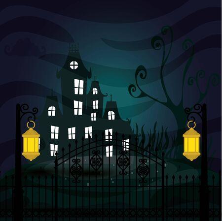 halloween haunted castle in dark night vector illustration design