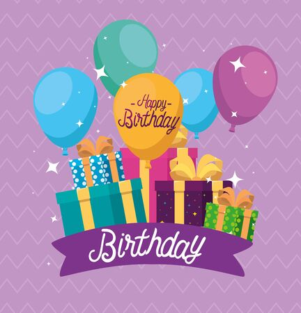 balloons design with present gifts and ribbon decoration to happy birthday, vector illustration