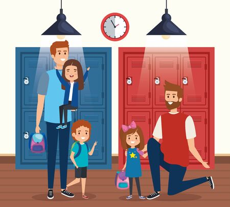 fathers with girls and boy students with backpack to bacto to school vector illustration