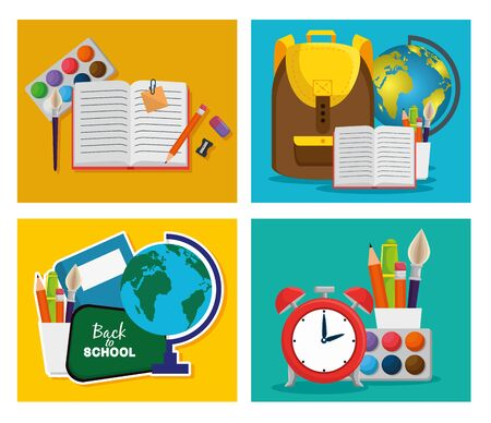 set of backpack with notebook and global map with pencils to back to school vector illustration
