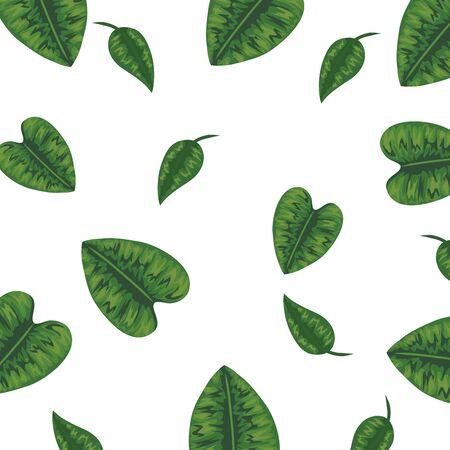 ecology leafs plants nature pattern vector illustration design