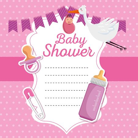 card of stork hanging baby and feeding bottle to celebration event vector illustration