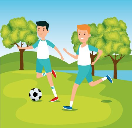 boys playing and training soccer activity to summer sport vector illustration Ilustracja