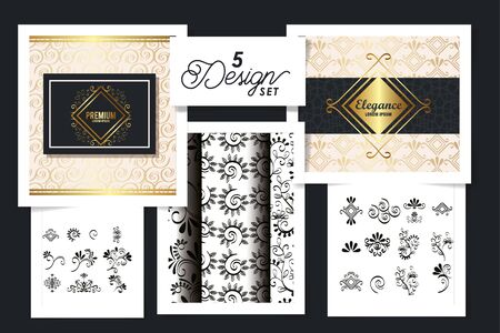 five designs of victorian frames and patterns geometric vector illustration design Иллюстрация