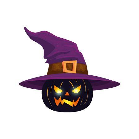 halloween pumpkin with witch hat vector illustration design Ilustração