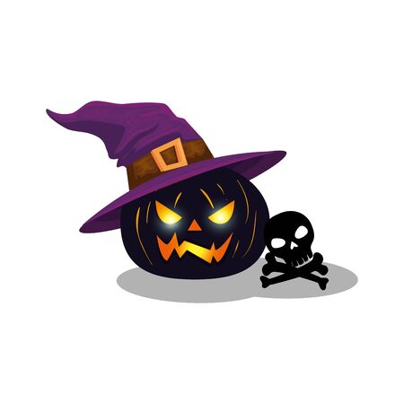 halloween pumpkin with witch hat and skull vector illustration design