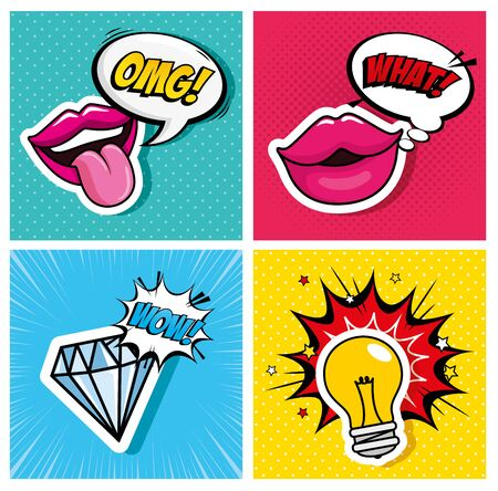 set of lips with diamond and light bulb style pop art vector illustration design Zdjęcie Seryjne - 141994762