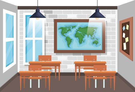 global map with desks and note board in the classroom to back to school vector illustration