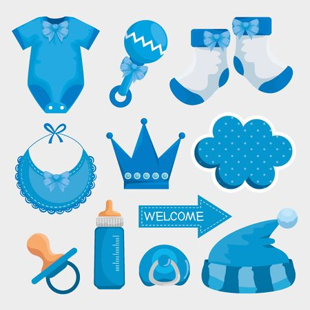 set of pijama with rattle and socks with bib decoration to baby shower vector illustration