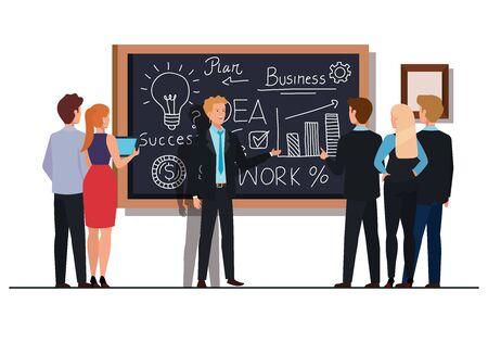 meeting brainstorm of business people vector illustration design Ilustracja
