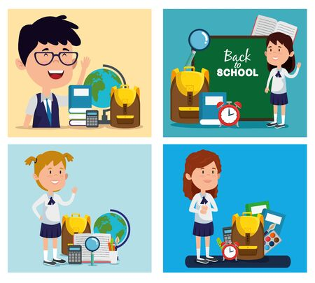 set of boy with girls students with education supplies to back to school vector illustration