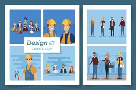 set five designs of professionals people vector illustration design Çizim