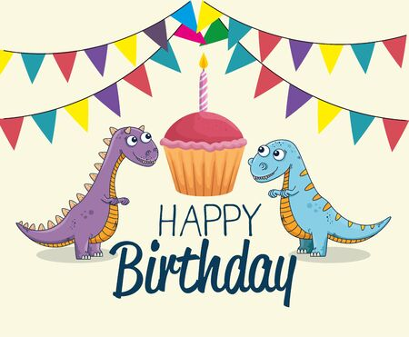 carnotaurus and thescelosaurus with cake and party banner to happy birthday vector illustration