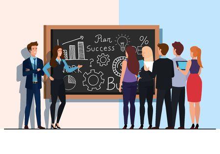 meeting brainstorm of business people vector illustration design Zdjęcie Seryjne - 142011364