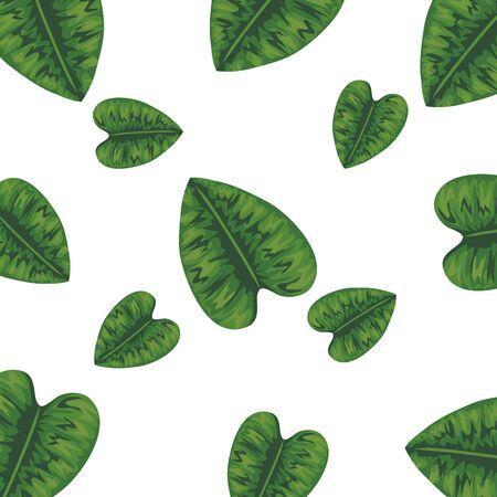 ecology leaves plants nature pattern vector illustration design