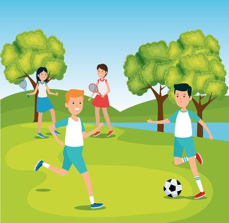 boys practice soccer and girls training tennis to summer sport vector illustration