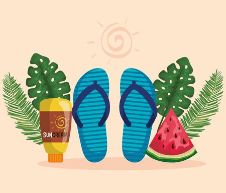 flip-flop with watermelon fruit and suncream with leaves plants to summer time vector illustration Illustration