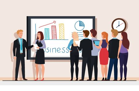 meeting of business people with infographics in chalkboard vector illustration design