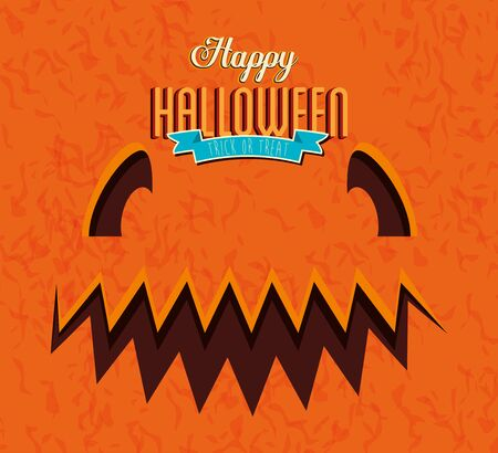 poster of happy halloween with face pumpkin vector illustration design