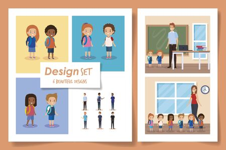 set six designs of students with teachers vector illustration design
