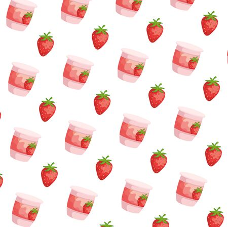 fresh strawberries fruits pattern background vector illustration design