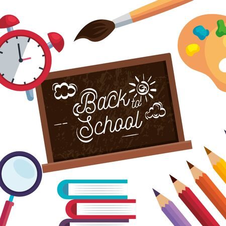 blackboard with clock alarm and books with pencils colors to back to school vector illustration Ilustração