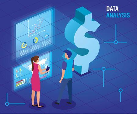 business couple with data analysis vector illustration design Çizim