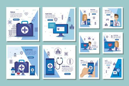 bundle of medicine online and icons vector illustration design