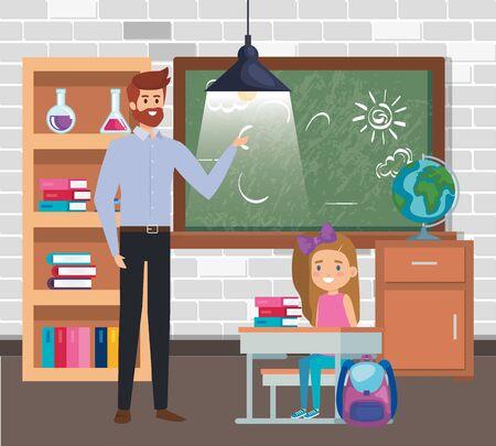 male teacher with student girl in the classroom vector illustration design Ilustração