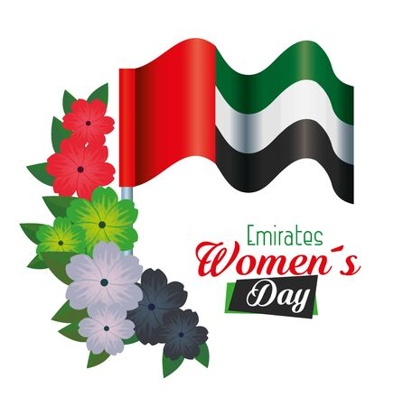 flowers with leaves design and patriotic flag to emirates womens day, vector illustration 向量圖像