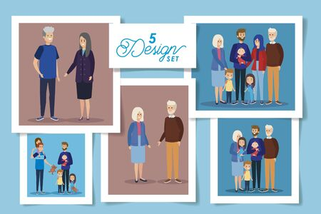 set five designs of grandparents and family members vector illustration design