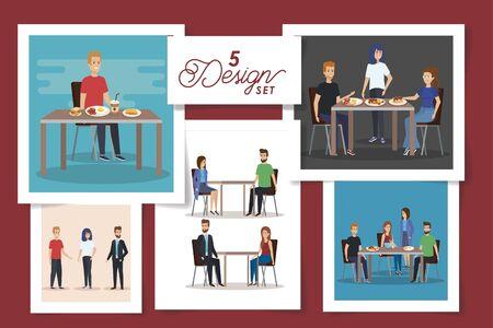 set of five designs of people in the breakfast vector illustration design