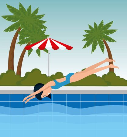 girl practice header jump in the pool to summer sport vector illustration