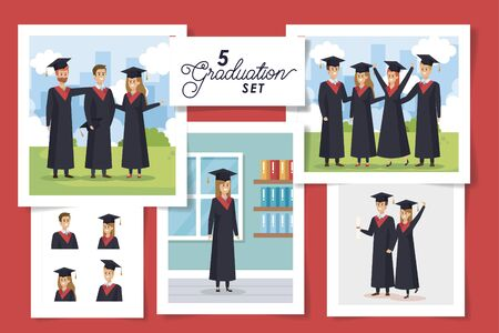 set of five scenes graduation with young people vector illustration design
