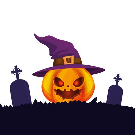halloween pumpkin with witch hat and tombs vector illustration design