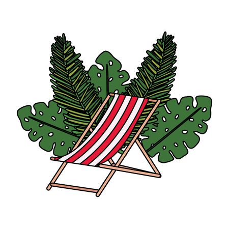 chair beach summer with leafs palms vector illustration design