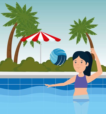 girl playing volleyball fitness activity in the pool to summer sport vector illustration