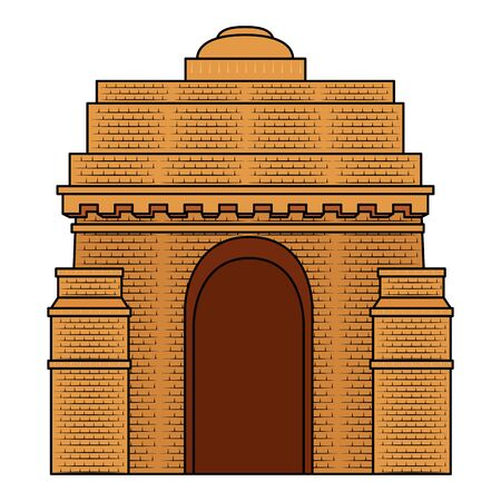 indian gate arch monument icon vector illustration design Ilustração