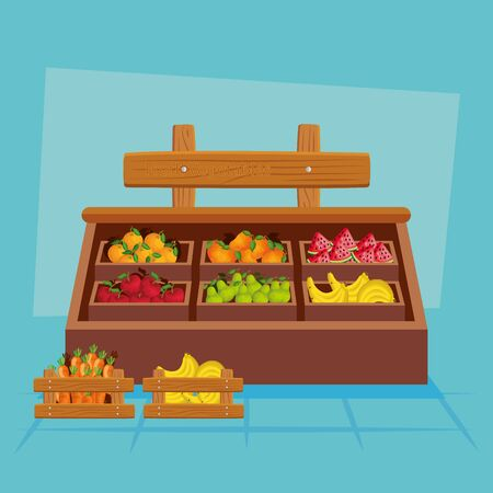 Fruits and vegetables inside wood furniture design, healthy organic food sweet nature juicy and nutrition theme Vector illustration