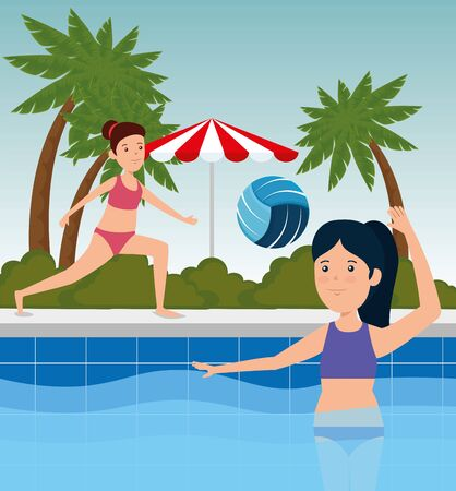 girls practice fitness exercise activity to summer sport vector illustration