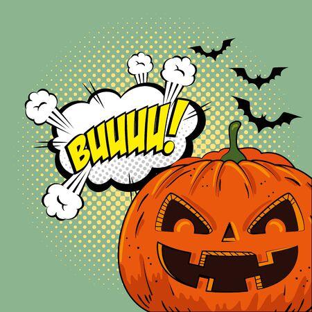 halloween pumpkin with bats flying and cloud pop art style vector illustration design