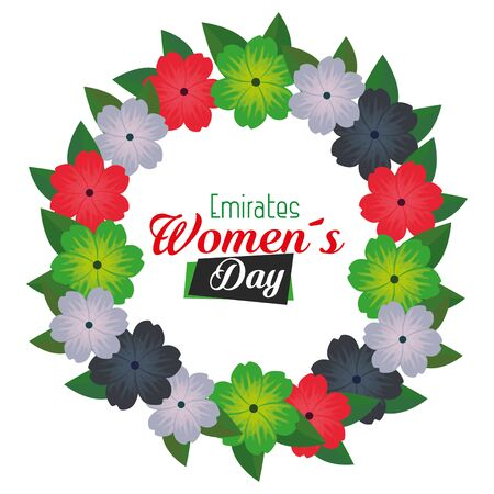 flowers design with leaves over white background to emirates womens day, vector illustration