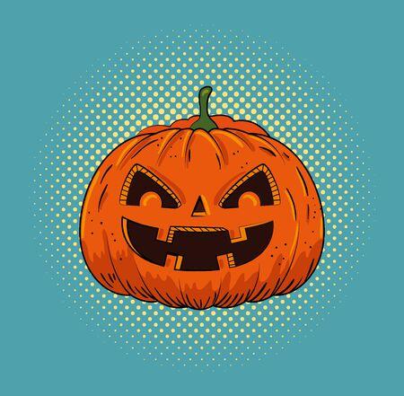 halloween pumpkin pop art style vector illustration design