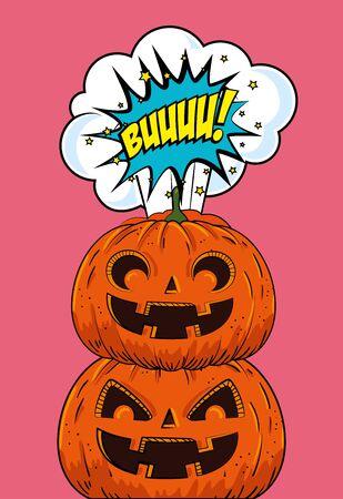 halloween pumpkins pop art style vector illustration design