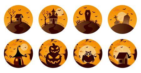 bundle halloween with set icons vector illustration design