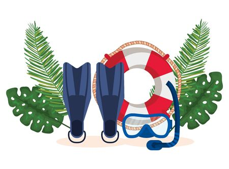fin water equipment with float and snorkel masks with leaves plants to summer time vector illustration