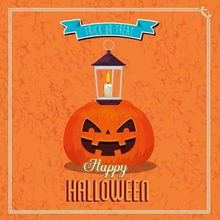 poster of happy halloween and pumpkin with lamp vector illustration design